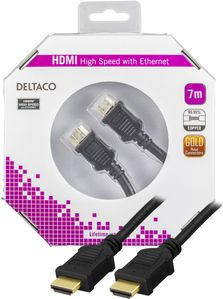 DELTACO HDMI-kabel,  v1.4+Ethernet,  19-pin ha-vink. ha, 7m (HDMI-1060-K)