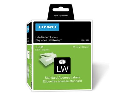 DYMO LW Standard Address labels - Med-Hi Volume, 28x89mm, 2x260 (1982991)