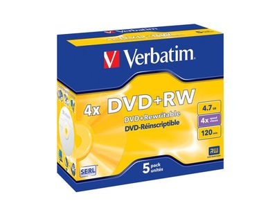 VERBATIM DVD+RW 4,7GB Branded Matt Silver 4xSpeed *5-pack* Jewel Case (43229)