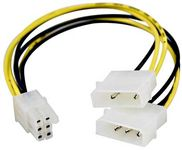 Adapterkabel 2x4-pin till 6-pin PCI-Express,  25cm