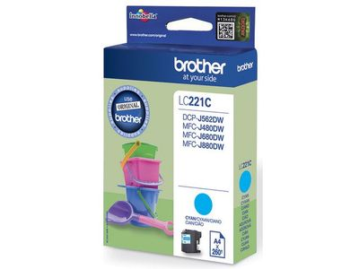 BROTHER INK CARTRIDGE CYAN 260 PAGES (LC221C)