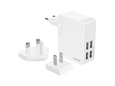 LEITZ Complete Travel  Charger USB Wall w.4plugs 24W (62190001)