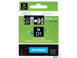 DYMO D1 12mm 1pk, Hvit/Sort (S0720610)