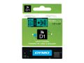 DYMO D1 12mm Black/ Green labels