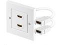 MICROCONNECT HDMI wall soccket 2 port white