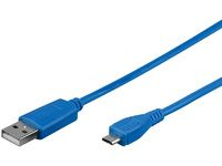 MICROCONNECT USB A - MicroUSB B 5P 1m Blue