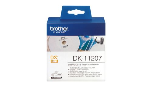 Brother CD/DVD etiketter plastfilm. 58mm. 100 stk. Sort på hvit. (DK11207)