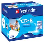 VERBATIM 52x CD-R 80min 700MB Print (SuperAzo)10-pack Jewel Case (43325)