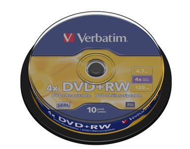 VERBATIM DVD+RW Media 4X  4.7GB SERL 10 Pack Spindel Retail (43488)