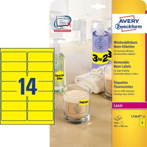 AVERY Square labels neon yello 99, 1x38, 1mm,  Laser 14 labels/ sheet 25 sheets/ pack (L7263Y-25)