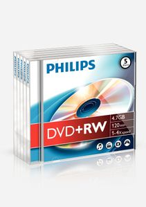 PHILIPS DVD+RW 4,7GB 4X JC (5) (DW4S4J05F/10)
