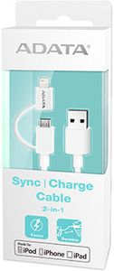 A-DATA ADATA Sync and Charge Lightning Cable, USB & microUSB, MFi (iPhone, iPad, iPod) (AMFI2IN1-100CM-CWH)