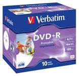 VERBATIM DVD+R Media 16X Wide Inkjet Printable 4.7GB Advanzed AZO 10 Pack Jewel Case Retail (43508)