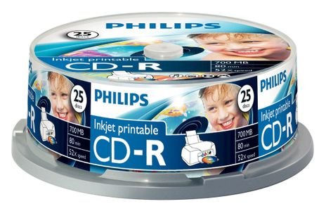 PHILIPS CD-R 700MB  25pcs spindel inkjet printable (CR7D5JB25/00)