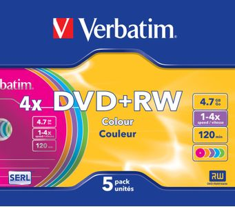 VERBATIM DVD+RW 4,7GB Color 4xSpeed *5-pack* SlimCase (43297)