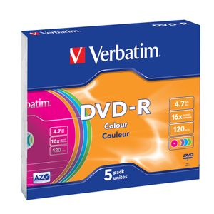 VERBATIM Dvd-R Azo 4.7Gb 16X Colour Surface (5) (43557*20)