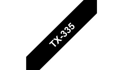 BROTHER 12mm White On Black Tape (TX335)
