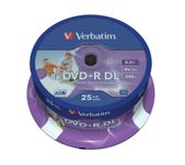 DVD+R 8.5GB DoubleLayer 8X Spindel 25stk Wide Printable - Retailpakning