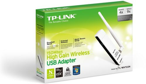 TP-LINK NT WIRELESS 150NB HIGH GAIN USB ADAPTER 2.4GHZ 802.11N B G RETAIL (TL-WN722N)
