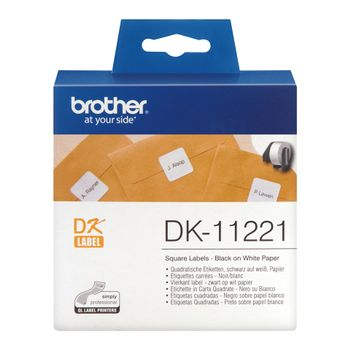 Brother PERMANENT ADHESIVE SQ LABEL 23MM X  23MM 1000 P ROLL (DK11221)