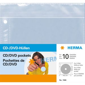 HERMA CD/ DVD-Hüllen je 2 CD/DVD 5 Hüllen transparent        7686 (7686)
