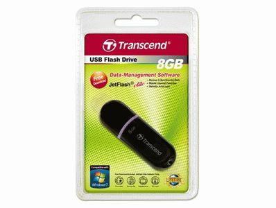 TRANSCEND 8GB JetFlash 300 (Black w/Purple belt) (Alt. TS8GJF300) (TS8GJF300)