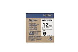 BROTHER Tape/12mm Blk on Yel Tape 5 PK H/Grade (HG631V5)