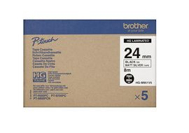 BROTHER Tape/24mm Blk on Silver Tape 5 PK (HGM951V5)