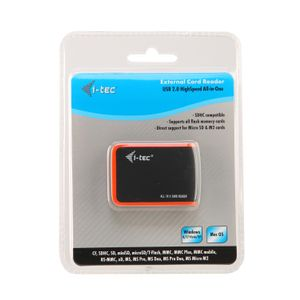 I-TEC USB 2.0 All-in-One Memory Card Reader - BLACK/ ORANGE (USBALL3-B)