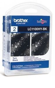 BROTHER Black Ink Cartridge High Yield **2-pack** (Blister) (LC1100HYBKBP2DR)