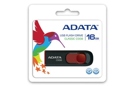 A-DATA 16GB USB Stick C008 Slider USB 2.0 black red (AC008-16G-RKD)