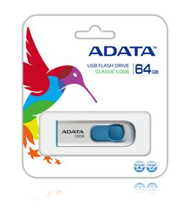 A-DATA 64GB USB Stick C008 Slider USB 2.0 white blue (AC008-64G-RWE)
