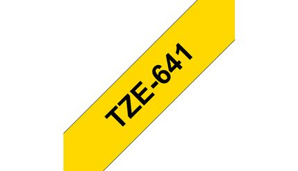 BROTHER TZE-641 LAMINATED TAPE 18MM 8M BLACK ON YELLOW SUPL (TZE-641)