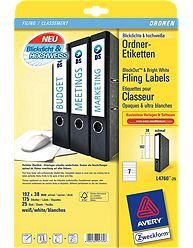 AVERY Ring Binder Labels For Laser 192x39mm 7 Labels/ Sheets **25-pack** (L4760-25)