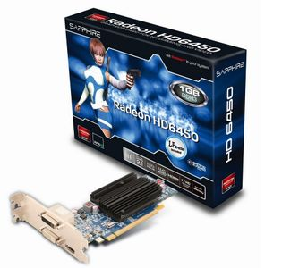 SAPPHIRE Radeon HD 6450 1GB DDR3 PCI-Express 2.1, DVI, native-HDMI,  VGA, Lite-Retail (11190-02-20G)