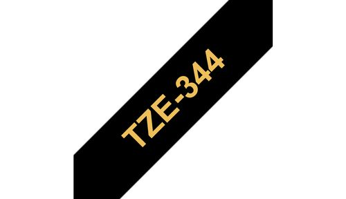 BROTHER 18MM Gold On Black Tape (TZE344)