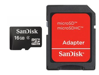 SANDISK SD CARD MICRO 16GB SDHC WITH ADAPTER MEM (SDSDQM016GB35A)