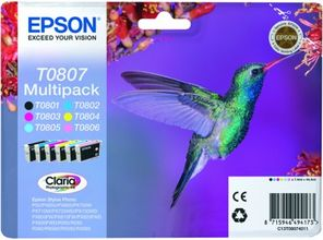 EPSON ink Claria Photographic Multipack 6color for StylusPhoto  R265 R360 RX560 RX585 RX685 R285 PX700W P50 PX710W PX810FW PX650 (C13T08074011)