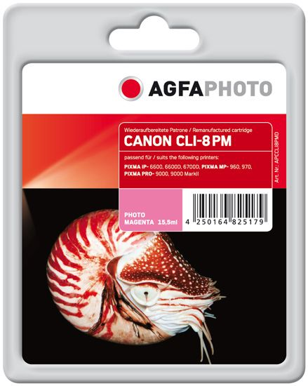 AGFAPHOTO 15.5 ml - fotomagenta - blekkpatron (alternativ for: Canon CLI-8PM, Canon 0625B001) - for Canon PIXMA iP6600D, iP6700D, MP950, MP960, MP970, Pro9000, Pro9000 Mark II (APCCLI8PMD)