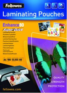 FELLOWES SuperQuick A4 Glossy 80 Micron Laminating Pouch (5440001)