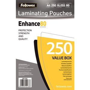 FELLOWES LAMINATING POUCH 80MIC A4 SIZE 250PK (5312903)