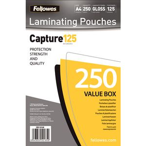 FELLOWES LAMINATING POUCH 125MIC A4 250PK (5314903)