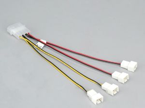 AKASA AK-CB001 Multi-fan Adapter 4-pin Molex to 4x 3-pin fans (speed reduction on 2 fans) (AK-CB001)