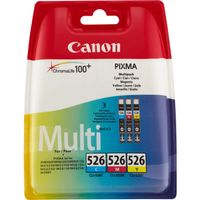 CANON CLI-526 C/M/Y ink cartridge cyan, magenta and yellow standard capacity 3 x 9ml 1-pack blister with security