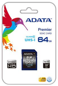 A-DATA Premier SDXC Memory Card, Class 10 UHS-I - 64 GB (ASDX64GUICL10-R)