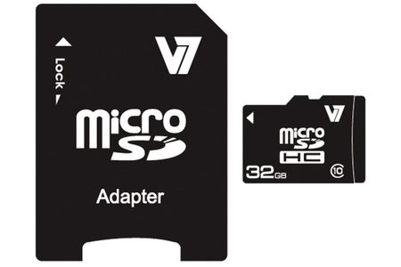 VIDEO SEVEN V7 MICROSD CARD 32GB SDHC CL10 INCL SD ADAPTER RETAIL EXT (VAMSDH32GCL10R-2E)