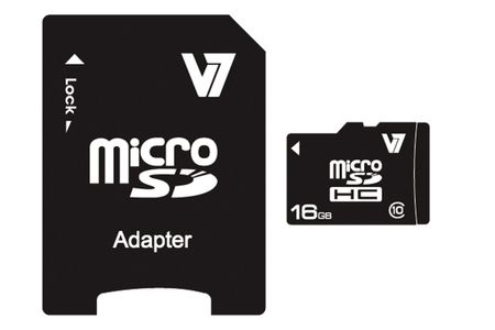 VIDEO SEVEN V7 MICROSD CARD 16GB SDHC CL10 INCL SD ADAPTER RETAIL EXT (VAMSDH16GCL10R-2E)
