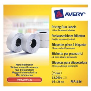 AVERY Labels on Roll  for 2 line pricing gun Perm. White (18D/2L) 26 x 16 mm (PLP1626)