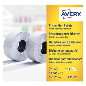 AVERY Labels on Roll  for 2 line pricing gun Remv. White (18D/2L) 26 x 12 mm (PLR1626)