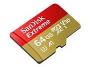 SANDISK Extreme micro SDHC 64GB + SD Adapter for Action Sports Cameras - workswithGoProMessaging-100MB/ sA1C10V30UHS-IU3